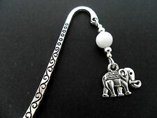 A TIBETAN SILVER WHITE  JADE BEAD  & ELEPHANT CHARM BOOKMARK. NEW.