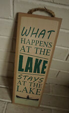 WHAT HAPPENS AT THE LAKE STAYS Fishing Canoe Lodge Log Cabin Home Decor Sign NEW