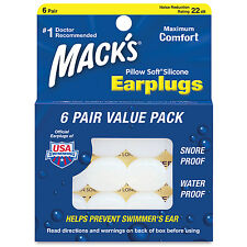 Mack's Silicone Putty Earplugs. - 6 Pairs