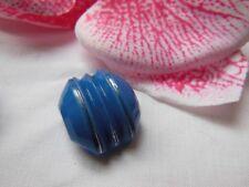 botón antiguo en cristal azul original año 40 plateado 1,6 sur 1,4 cm G2C