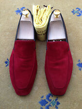 John Lobb Paul Smith Para Hombre Zapatos Mocasines De Gamuza Roja UK 8 nos 9 EU 42 Lucca House