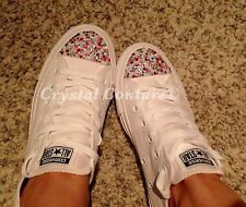 Pink Bling & Pearl Customised White Crystal Converse Sz 3, 4, 5, 6, 7, 8 Bnib
