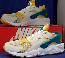 Nike Air Huarache Run PA Light Bone Radiant Emerald Gold SZ 8 ( 705008-007 )