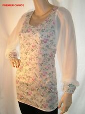 NEW CRYSTAL WHITE BABY PINK FLORAL LONG TRANSPARENT SLEEVED FIRST LOOK TOP 10