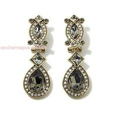 "Heidi Daus ""Armed with Charm"" Crystal Drop Clip-on Earrings Black Diamond New"