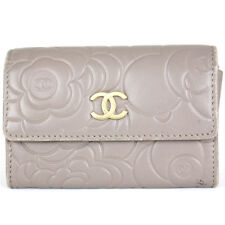 AUTHENTIC CHANEL Lamb Skin Matelasse Coin Case Card Case A50088 Beige Gray