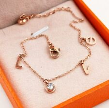 Love Heart Rose Gold Link Chain Surgical Stainless Steel Gift Ankle Bracelet AF