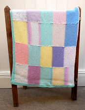 Vintage Retro Handmade Granny Knit Patchwork Squares Throw  Baby Blanket
