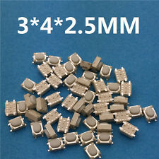 50pc/lot SMT 3x4x2.5MM 4PIN Tactile Tact Push Button Micro Switch G75 Self-reset