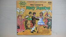 """Disneyland Record Four Complete Songs Walt Disney's MARY POPPINS 7"""" 33 RPM 1972"""