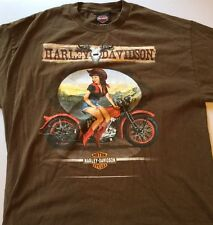 Harley Davidson Pin Up Girl Cowgirl Western T Shirt Brown XL EUC Jamaica