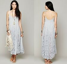 FREE PEOPLE ONE Victorian Lace Maxi Dress Size XS Sky Blue Corset Lace Up Sides