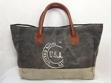 Mona B Recycled Canvas & Leather Tote Bag with Drop Handles