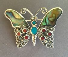 Marcasite Butterfly Pin Brooch with Inlay Genuine .925 Sterling Silver