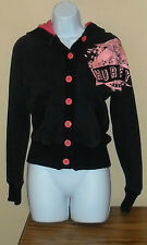 Hurley Hoodie Hipster Artsy Boho Black Sweater Pink Buttons