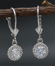 JM58 14K Solid White Gold 22mm White CZ Round Blue halo Cut leverback Earrings