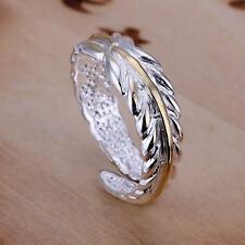 New products Free shipping wholesale 925 silver filling Feather Ring Adjustable