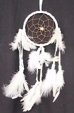 NEW WHITE DREAM CATCHER HANDMADE WITH LEATHER & FEATHERS CAR OR WALL DECOR
