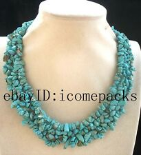 "4rows turquoise baroque handcraft necklace 18"" nature wholesale nature amazing"
