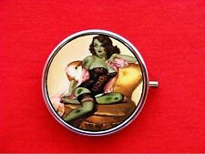 ZOMBIE PIN UP GIRL LINGERIE ROUND METAL PILL MINT BOX CASE