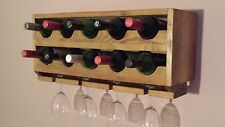 UPCYCLED RUSTIC WALL MOUNTED  WINE RACK, 10 WINE BOTTLE HOLDER.