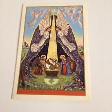 Vintage Greeting Card Christmas Arnott White Angels Star Bread Bouquet