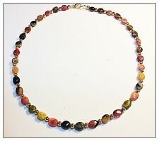 Genuine Watermelon Tourmaline Necklace Rainbow Gemstones 18 Inch silver