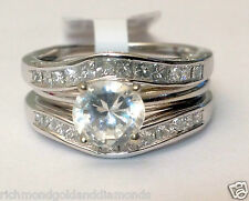 Solitaire Enhancer Diamonds Ring Guard Wrap 14k White Gold Princess Cut