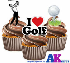 12 x Golf Ball Male Players I Love Golf Mix Edible Cup Cake Toppers Stand Ups