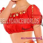 BELLY DANCE COSTUME CHIFFON GOLD COIN BRA TOP 8 COLORS