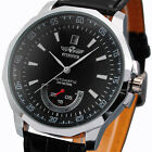 Men's Classic Automatic Mechanical Date Black Leather Band Analog Wrist Watches
