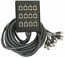 Pulse XLR Multicore Stage Box 12 Way Sends 10m Length Touring Grade Snake