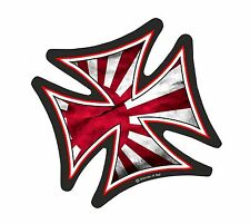 IRON CROSS & Japanese Rising Sun JDM Flag Biker vinyl car Helmet Sticker 95mm