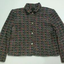 RS Sport Women's Jacket Size Large Multi-color Tweed Look Button Front