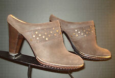 Sofft Waxed Brown Leather Brass Tack Heeled Bootie Mules Sz 8M MINTY!