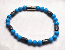 LADIES 7.25 IN. HEALING MAGNETIC THERAPY BRACELET: Turquoise 'N Hematite; 4 pain