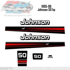 1995-96 Johnson 50 HP Outboard Reproduction 9 Pc Vinyl Decals 2-Stroke Stickers