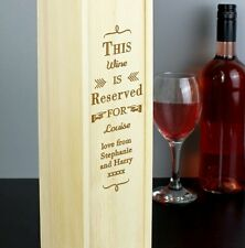 Personalised Wooden Bottle Presentation Gift Box For Wine & Spirits Birthday