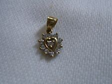 10K Solid Yellow Gold CZ's Heart Charm / Pendant                      1670