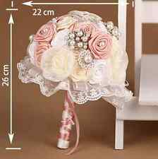 Wedding artificial flower rococo pink rose crystal pearl brooch bouquet lace