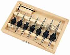 7 Piece wood drill bit set with integral Countersinks in wooden case
