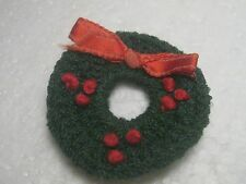 Vintage Crocheted or Tatted Christmas Wreath, Evergreen and Red w/ribbon
