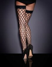 Agent Provocateur BUBBLES Large Fishnet Hold-Up Size L NWT Orig. $70 Black