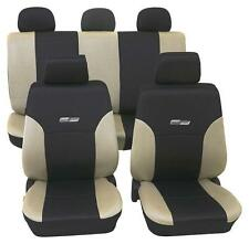 Beige & Black Leather Look Car Seat Covers - Honda Jazz 2005 Onwards-Washable
