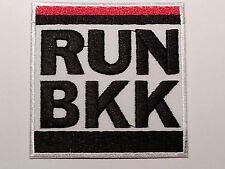 ROCK PUNK METAL MUSIC SEW / IRON ON PATCH:- RUN B.K.K. BANGKOK BLACK & WHITE