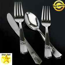 Silver Plastic Cutlery 192 Piece Party Tableware Disposable Forks Knives Spoons