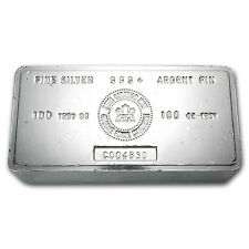 100 oz Royal Canadian Mint Silver Bar - Vintage RCM Silver Bar - SKU #22218