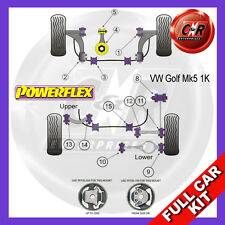 VW Golf Mk5 2WD 03-09 Powerflex Full Bush Kit Frt Wishbone Frt Bushes Camber Adj