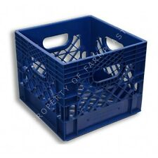Blue Square Milk Crate Heavy-Duty Storage Bin Container Case Box