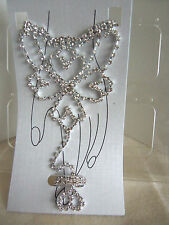 Clear Rhinestone Fancy Hand Jewelry Bracelet w. Attached Ring-Imperfect